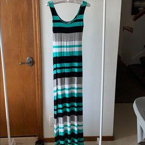 Mint Gray Black White Striped Merona Maxi Dress